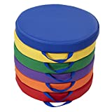 SoftScape 15 inch Round Floor Cushions with Handles; Flexible Seating for in-Home Distance Learning, Daycare, Preschool, Classroom; 2 inch Thick Deluxe Foam (6-Piece) - Assorted