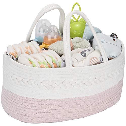 Hinwo - Carrito pañales para bebé 3 compartimentos, contenedor almacenamiento guardería, organizador portátil coche, cesta regalo ducha recién nacidos, cuerda algodón divisor desmontable pañal