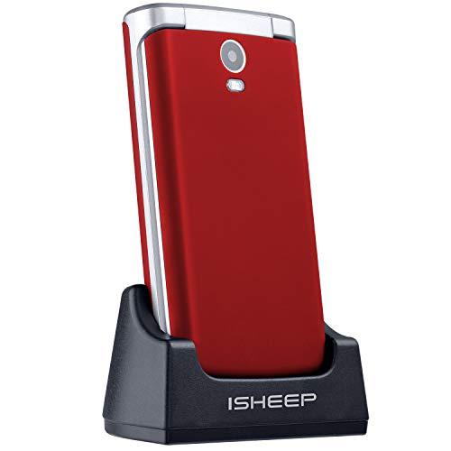 ISHEEP E9 GSM/2G Téléphone Portable avec Couvercle pour Personnes âgées Touches Grand écran de 2,8 Pouces avec Bouton SOS (Red)