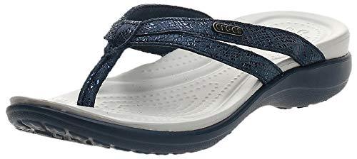 Crocs Women#039s Capri Strappy Flip Flop Navy/Navy 8 M US