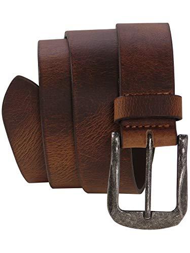 Harrys-Collection Herren Jeans Gürtel mit starker Altsilberschließe, Bundweite:Bundweite 105 = Gesamtlänge 119, Farben:braun