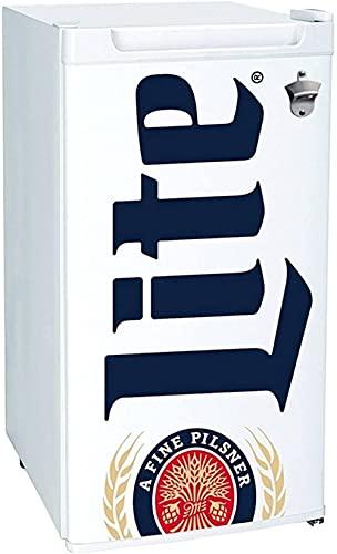 Miller Lite Compact Fridge, Bottle Opener, 90 L/ 95 Quart 3.2 Cubic Foot for Snacks, Frozen Meals, Beverages, Juice, Beer, Den, Dorm, Office, Games Room, or RV