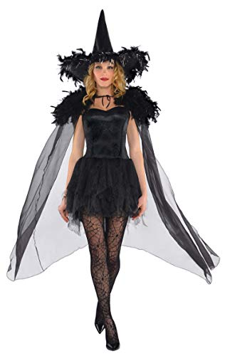 AMSCAN Feather Witch Cape Halloween Costume Accessories for Women, One Size, Black