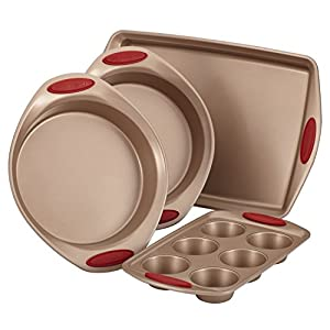 Rachael Ray Cucina Bakeware Set Includes Nonstick Cake Cookie Baking Sheet and Muffin Cupcake Pan, 4 Piece, Latte Brown with Cranberry Red Grips