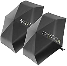 2-Pack Nautica Umbrella for Travel - Auto Open & Close Compact, Lightweight & Folding - Best Windproof Umbrellas for Rain, Sun & Wind Protection, Small, Automatic & Collapsible in Black, Navy & Green