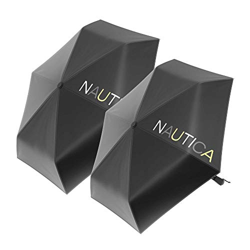 2-Pack Nautica Umbrella for Travel - Auto Open & Close Compact, Lightweight & Folding - Best Windproof Umbrellas for Rain, Sun & Wind Protection, Small, Automatic & Collapsible in Black