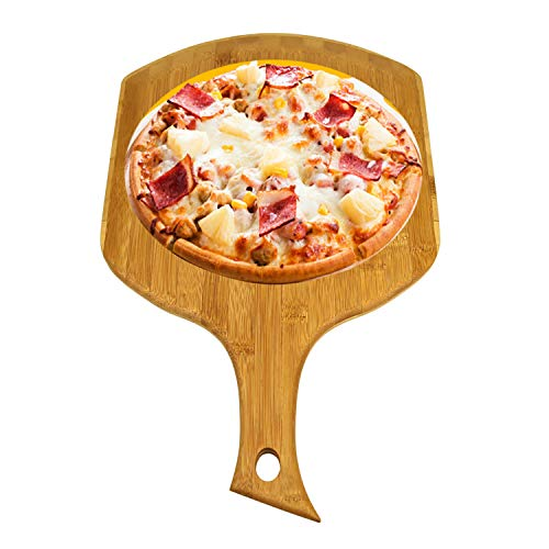 Bamboo Wood Pizza Peel Square, Pizza Paddle Cutting Board with Handle for Homemade Baking Pizza, Bread, Cutting Fruit, Vegetables, Cheese and Serving board (B)