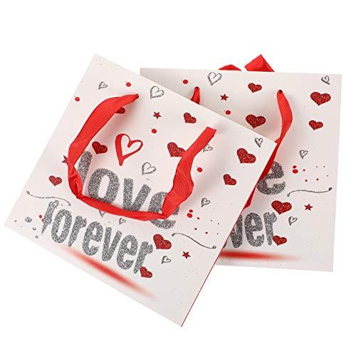 TOYMYTOY 6Pcs Bolsas de Regalo del Día de San Valentín Corazón para Siempre Tema de Amor Kraft Party Favor Bolsas Presente Embalaje de Dulces Bolsa de Boda para San Valentín Suministros de