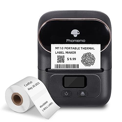 Phomemo M110 tragbarer etikettendrucker, Beschriftungsgerät Bluetooth für iOS & Android, Barcode drucker für Kleidung, Schmuck, Einzelhandel, Haushalt, mit 1 Rolle 40x30mm Etikett