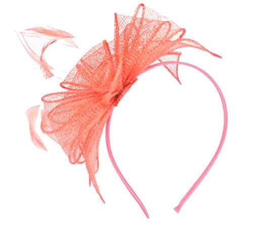 Coral Fascinator on Headband/ Clip-in for Weddings, Races and Occasions-5916