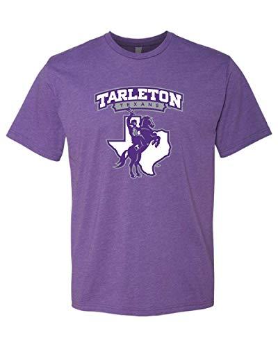 CreateMyTee | Premium Purple Tarleton Texans Full Logo Adult T-Shirt Tarleton State University Mens/Womens T-Shirt (Purple Rush, Large)