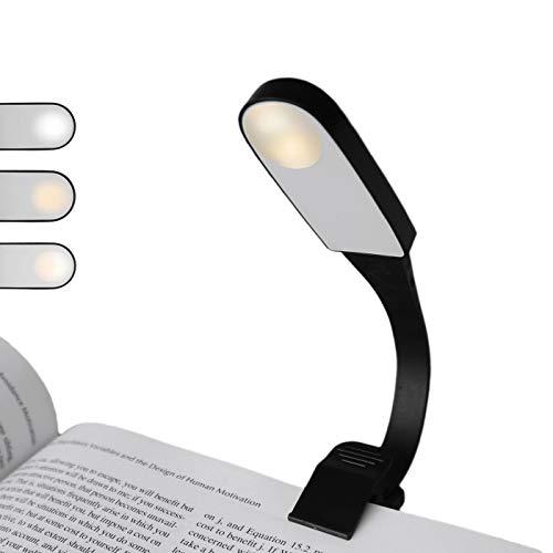 Lampada da Lettura,Homeslct Luce lettura per Libro con Pinza,3 Luminosità Regolabile Lampada Libro con USB Ricaricabile Senza Cavo