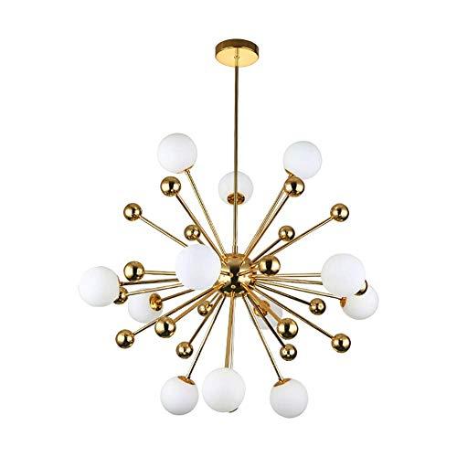 WEM Lámpara de Araña Sputnik G9 de 12 Luces, Lámpara Colgante de Latón de Mediados de Siglo, Lámpara de Araña Starburst de Montaje Semi Empotrado, Lámpara de Techo Industrial/Lámpara para Cafetería