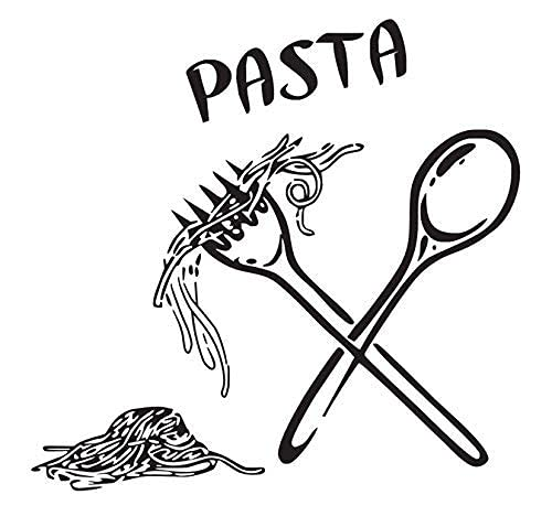 Pasta Pegatinas De Pared Azulejo De Cocina Decoración De Pared Vinilo Decoración De Pared Comida Comida Cuchara Cuchara Tenedor 44X46Cm