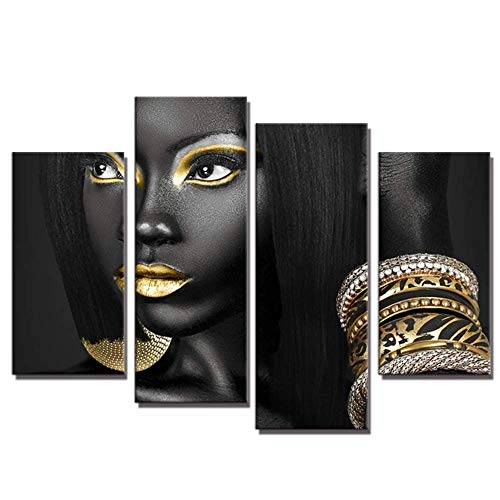 4 Pieces Abstract Poster Printed Golden Egyptian Queen Beauty Black Woman Portrait Wall Art