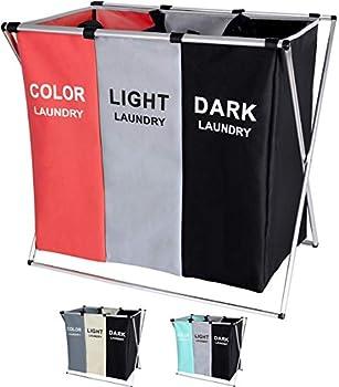 135L Laundry Cloth Hamper Sorter Basket Bin Foldable 3 Sections with Aluminum Frame 26  ×24  H Washing Storage Dirty Clothes Bag for Bathroom Bedroom Home Storage basket 3 Liner   red+Grey+Black