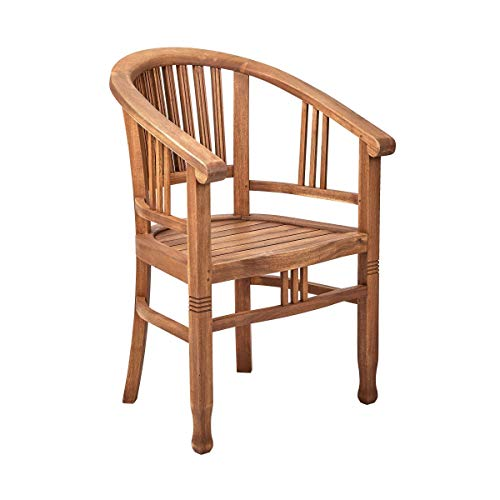 Butlers Acacia Springs Stuhl aus FSC-Akazienholz Natur - Holzstuhl mit Armlehnen, Gartensessel, Holzsessel Balkon