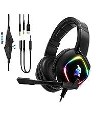 EMPIRE GAMING - Dark Rainbow G-HD10 Gamer Headset - Multiplattform - Högupplöst stereoljud - Rundstrålande mikrofon - Kompatibel med PS4, Xbox One, Smartphones, surfplattor, PC och MAC.