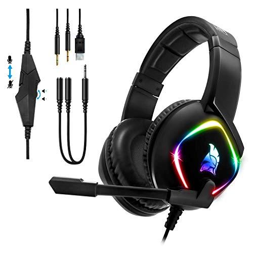 EMPIRE GAMING -Cuffie Gamer Dark Rainbow G-HD10 -Compatibile PS4/PS5/Xbox Series/Smartphone/Tablet/PC/Mac -Multipiattaforma -Audio Stereo ad Alta Definizione -Micro Flessibile Omnidirezionale