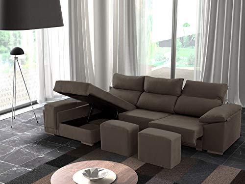 Sofá de 3 plazas Modelo Senegal con chaiselongue a la Izquierda, Asientos deslizantes y arcón. Color Gris Marengo