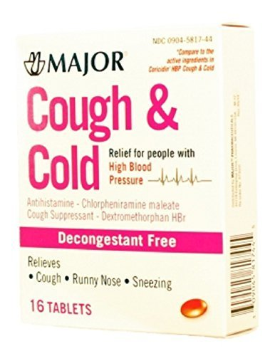 MAJOR COUGH & COLD TABS HIGH BLOOD PRSR CHLORPHENIRAMINE MALEATE-4 MG Red 16 TABLETS UPC 309045817445 by Major Pharmaceuticals