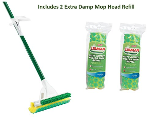 Libman Nitty Gritty Roller Mop With 2 Extra Mop Head Refill