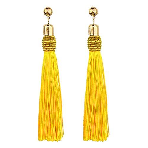 Pinhan Pendientes largos con flecos vintage largo borla colgante carácter exagerado pendientes,amarillo