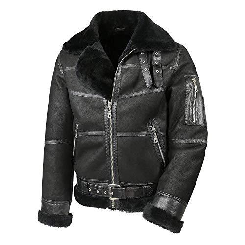 Hollert Herren Lammfelljacke B16 Modell 7 SCHWARZ Sylvester Style Winterjacke 100% Merino Felljacke Lederjacke Größe XL