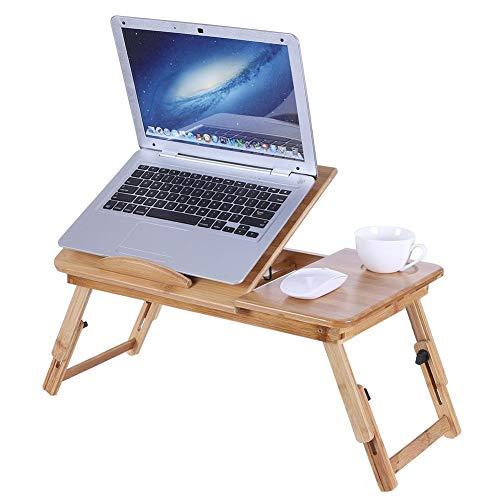Greensen Soporte de bambú para computadora portátil para Escritorio, Mesa Plegable para computadora portátil, Mesa Ajustable para computadora portátil en la Bandeja de la Cama(Bamboo)