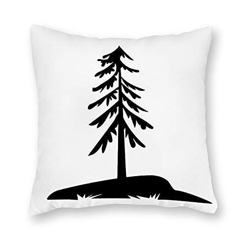 qidushop Funda de almohada de lona, para exteriores, diseño de abeto, color negro, funda de cojín decorativa de lona de 45,7 x 45,7 cm, decoración del hogar para sofá