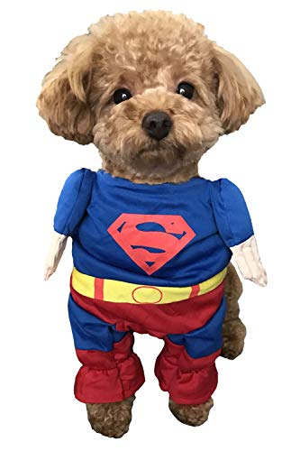 [ディアコロン] ペット コスチューム 犬 服 ドッグウェア コスプレ ハロウィン 二足歩行 衣装 ドッグ ネコ 猫 仮装 ウェア キャットウェア 愛犬 プレゼント ギフト dp001 スーパーマン M