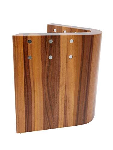 Zayiko hochwertiger magnetischer Messerblock Nussbaum gebogen für bis zu 10 Messer