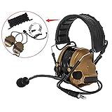 COMTA III戦術ヘッドセット、音ピックアップ機能、ノイズ除去、耳保護用具 にはシリコンイヤーマフとマイクロフォンを采用し、アウトドアエアスポーツや狩りに適する (コヨーテブラウン)