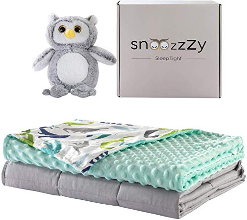 snoozzzy Kids Weighted Blanket And Dinosaur Cover 36X48In, (5 lb) Great For Children - Aids Sleep And Relaxation + Free Owl Toy