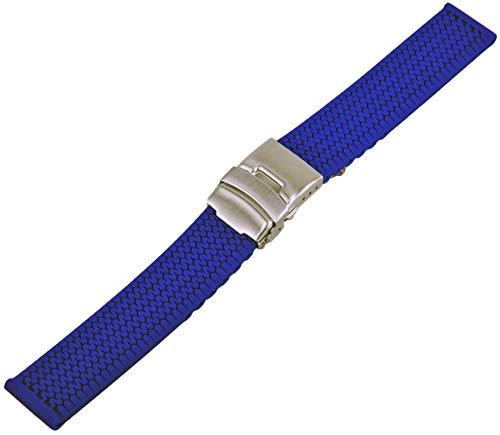 Silikon Uhrenarmband Taucher Armband mit Faltschliesse und Reifen Profil 20-24mm Uhrband Blau 20mm