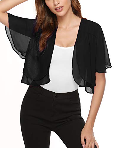 Aibrou Womens Shrugs for Summer Short Ruffle Sleeve Bolero Sheer Chiffon Cardigan Black X-Large