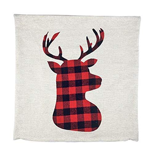 funie De Almohada De Navidad, Rojo Y Negro Papá Noel Elk De Almohada con Patrón De Muñeco De Nieve, Decoración De Almohada De Sofá De Navidad *Alce