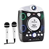 auna Kara Projectura - Karaoke Anlage, Karaoke Player Set, LCD Video Projektor, 2 x dynamisches Mikrofon, CD+G-Player, USB, MP3-fähig, Audio-, Video-Ausgang, LED-Lichteffekt, schwarz -