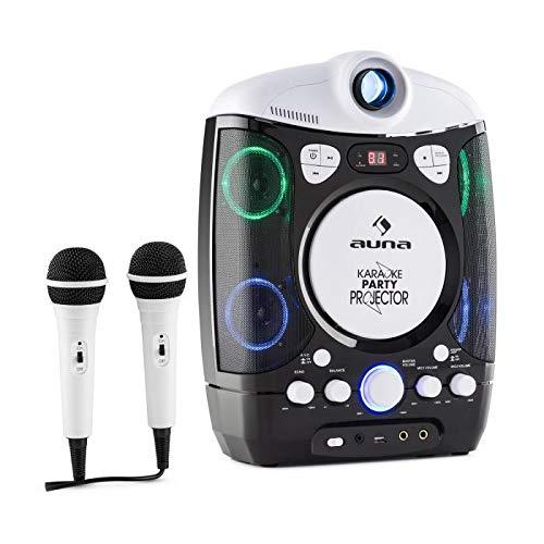 auna Kara Projectura - Karaoke Anlage, Karaoke Player Set, LCD Video Projektor, 2 x dynamisches Mikrofon, CD+G-Player, USB, MP3-fähig, Audio-, Video-Ausgang, LED-Lichteffekt, schwarz