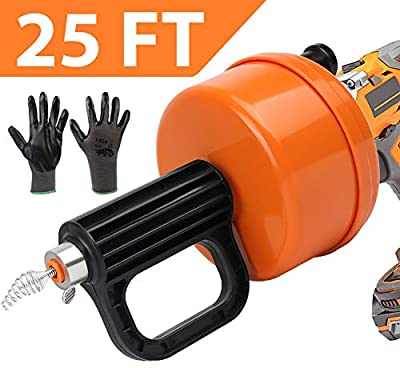 SUNDRAIN Drain Auger Plumbing Snake with Drill Adapter,Drain Snake 25-Ft,Drain Clog Remove,for Sewer/Bathtub Drain/Kitchen Sink Cleaner with Work Gloves