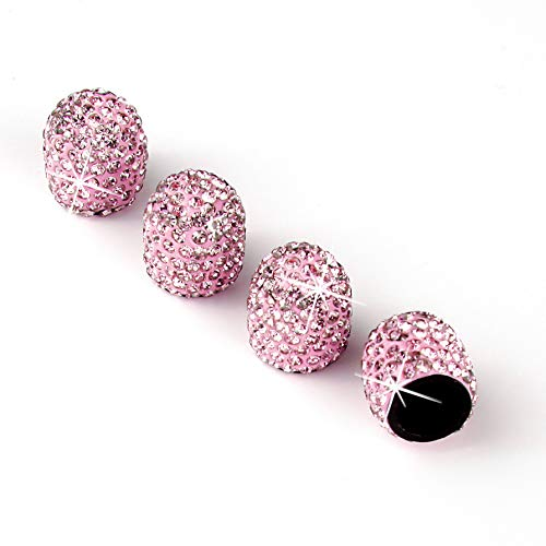 JUSTTOP 4 Pack Handmade Crystal Rhinestone Car Stem Air Caps Cover, Car Wheel Tire Valve, Attractive Dustproof Bling Car Accessories, Universal for Cars, Trucks and Motorcycles-Pink