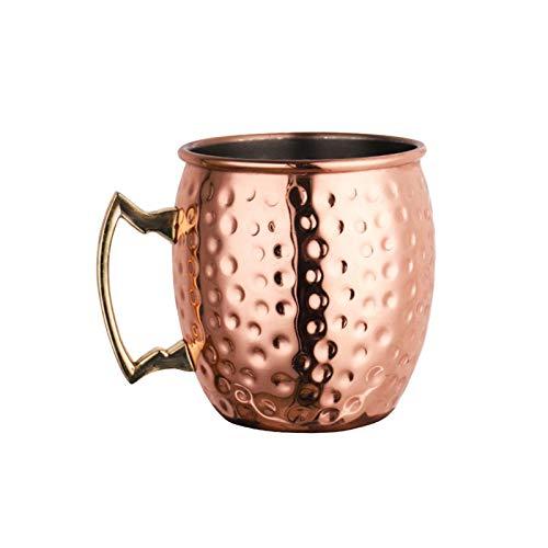 POHOVE Moscow Mule - Taza de cobre (530 ml, acero inoxidable, forro de cobre, con mango, taza de martillo, champán, mula, copa de vino para cerveza y cóctel)