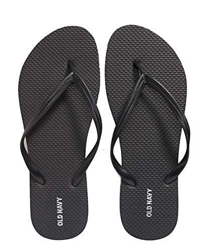 Old Navy Comfortable Beach Summer Casual Flip Flop Sandals for Women (Black, numeric_8)