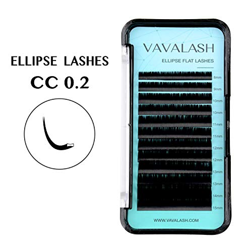 Ellipse Eyelash Extensions 0.20mm CC Curl 8-15mm Mixed Flat Eyelash Extension supplies Light Lashes Matte Individual Eyelashes Salon Use Black Mink False Lashes Mink Lashes Extensions(CC-0.20-MIXED)