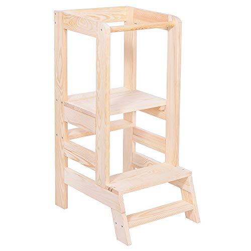 Soporte de cocina Springos para niños pequeños, ayudante de cocina, 90 x 39 x 52 cm, madera maciza, torre, estable, madera de pino, trona, muebles, cocina, plataforma