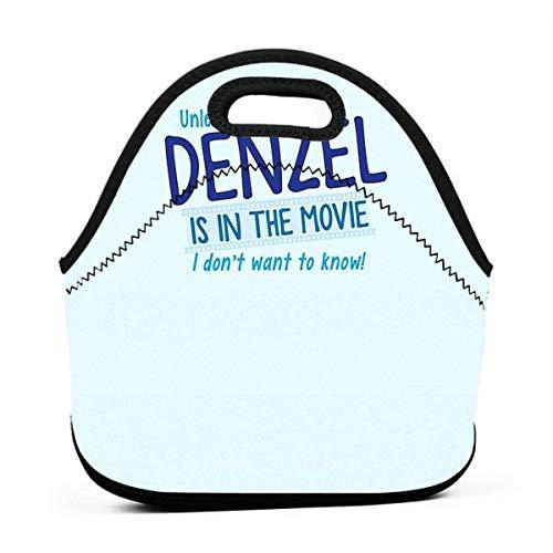 XCNGG A menos que Denzel esté en la película No quiero saber Hombres Mujeres Niños Bolsa de almuerzo con aislamiento Tote Fiambrera reutilizable para el trabajo Escuela de picnic
