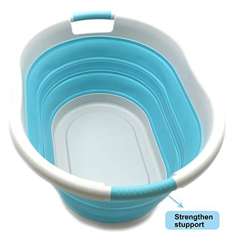 SAMMART Wäschekorb aus Kunststoff faltbar, faltbar, tragbar, platzsparend (Grau/Hellblau, Oval)