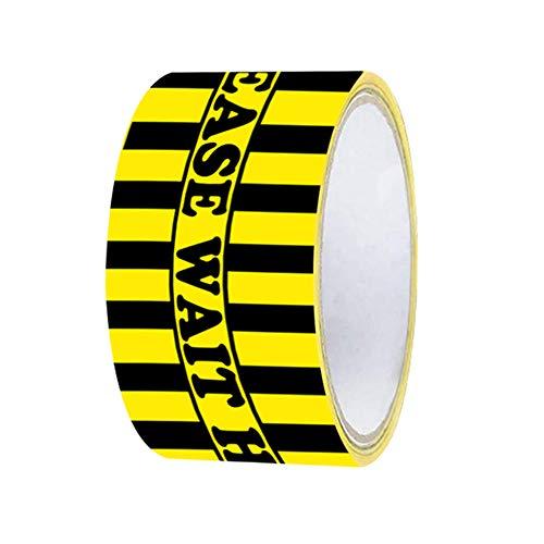 Yusea Hazard Tape – Please Wait Here schwarz gelb Bodenschild rutschfest Social Distancing Aufkleber Markierung Bodenaufkleber