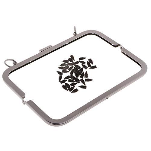 IPOTCH Metall Taschenrahmen Taschenbügel Taschenverschluss Taschenhenkel zum Einnähen 21x8cm - Grau schwarz