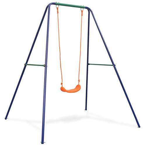vidaXL Kinderschaukel Kinder Gartenschaukel Schaukelgestell Schaukelgerüst Einzelschaukel Schaukel Schaukelsitz Orange Blau Grün 45kg